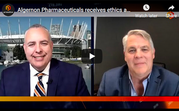 Algernon Pharmaceuticals receives ethics approval as the company begins clinical trials for Ifenprodil